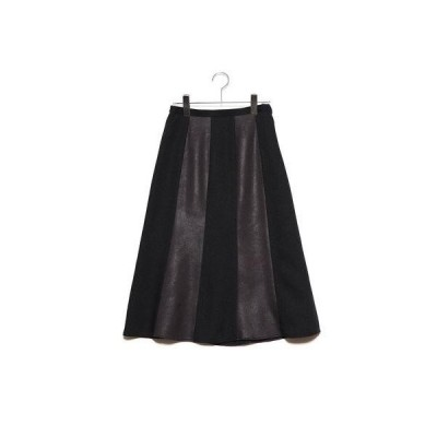 バゼーヌ BAZAINE ツートンカラーAラインスカート (ブラウン)