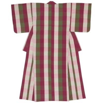 洗える着物 木綿着物 レディース 伊勢木綿 天然素材 ブロックチェック 単衣着物 レッド グリーン 綿 カジュアル 単品 仕立て上がり 和装 女性用 送料無料