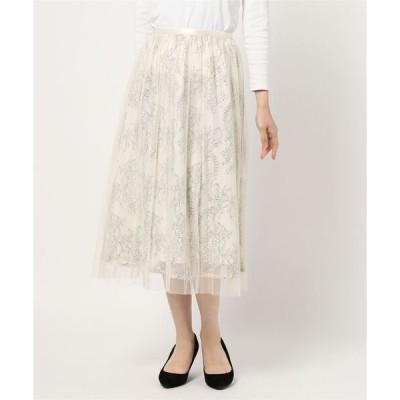 スカート チュールレイヤード コードレースフレアスカート