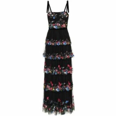 ノッテ バイ マルケッサ Marchesa Notte レディース パーティードレス ワンピース・ドレス Embellished floral tulle gown Black