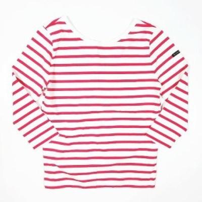 【中古】ルミノア Leminor ボーダー柄 Tシャツ カットソー 七分袖 Vネック トップス サイズ1 ピンク レディース