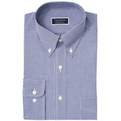 クラブルーム メンズ シャツ トップス Men's Classic/Regular Fit Stretch Mini Gingham Dress Shirt,  Navy