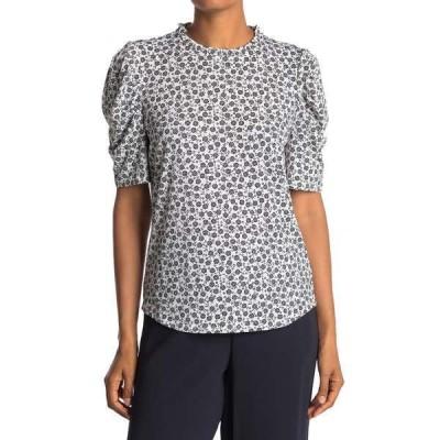 アドリアナ パペル レディース Tシャツ トップス Moss Crepe Print Ruffle Neck Blouse IRYGEOFLWR