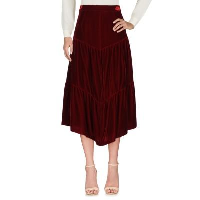 SAINT LAURENT 7分丈スカート ボルドー 38 レーヨン 65% / キュプラ 35% 7分丈スカート