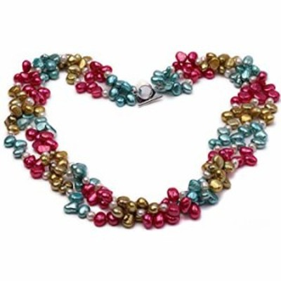 """JYX Pearl Necklace Three-Strand Red, Champagne, Blue and White Freshwater Pearl Necklace for Women 19"""""""