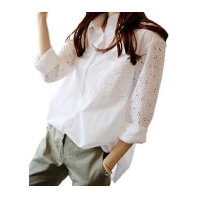 長袖 白 襟付き ロング 丈 バッグテール シャツ ぶらうす レディース(s2111130731)