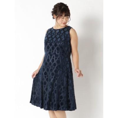 【大きいサイズ】ベロアレースドレス 大きいサイズ パーティドレス・ワンピース レディース