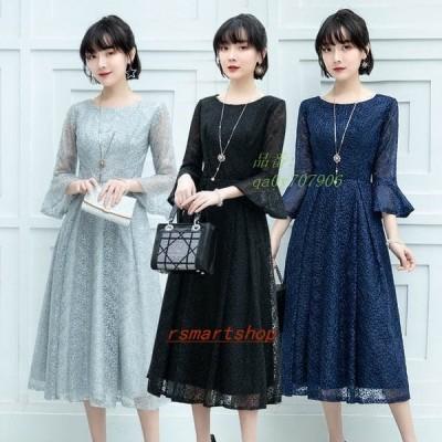 50代パーティードレスミモレ丈紺色結婚式ドレスAラインお呼ばれドレス3色ブラック40代フレア袖30代二次会ドレス7分袖グレー袖あり