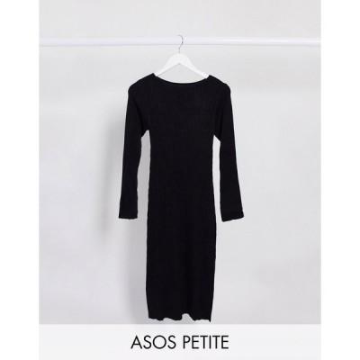 エイソス ミディドレス レディース ASOS DESIGN Petite crew neck ribbed midi dress エイソス ASOS sale ブラック 黒