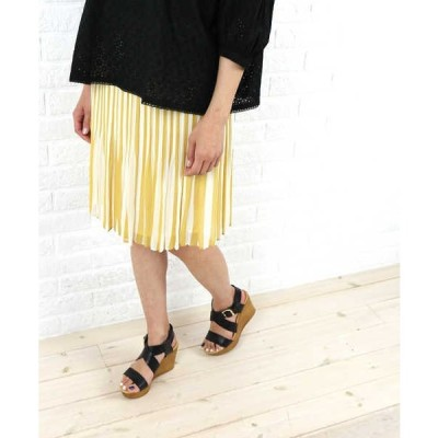 【2F】【CN】NIMES(ニーム)ポリエステル 膝丈 ストライプ プリーツ スカート・NLG4305101-0091501