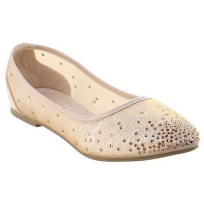オックスフォード フラット シューズ 靴  KISS & TELL ZONIA-09 レディース Pointed トゥ Rhineストーン Detail スリッポン Ballet フラットs NUDE