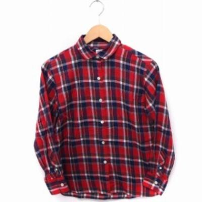 【中古】アメリカンラグシー AMERICAN RAG CIE 8シャツ ブラウス チェック 長袖 コットン 綿 0 赤 /FT29 レディース