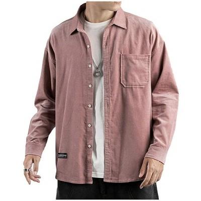 春物 長袖シャツ 薄手 コーデュロイ 羽織り 無地 ゆったり ポケット付き カジュアル デザイン ながそで 流行り お洒落(ピンク, M)