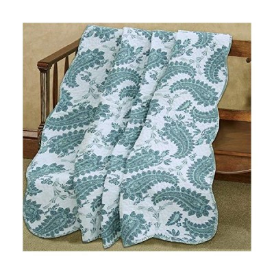 """Cozy Line Home Fashions Teal White Paisley Printed Reversible 100% Cotton Quilted Throw Blanket 60"""" x 50"""" Machine Washable and Dryable(Teal"""