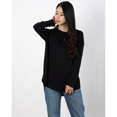 コムサイズム COMME CA ISM スリット ロングTシャツ (ブラック)