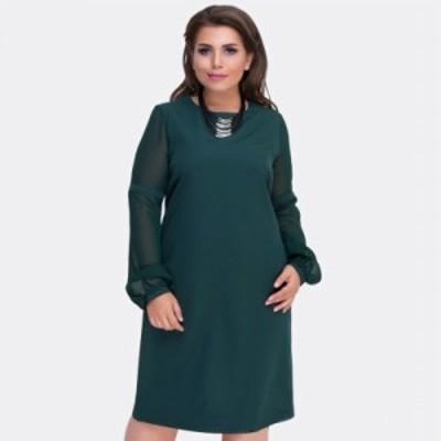 【2XL~6XL】大きいサイズ 女性服 ドレス 秋冬暖かいドレス 長袖 ビッグサイズ 2018 70073