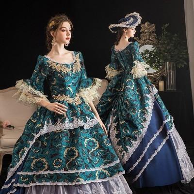 プリンセスライン 中世貴族風 宮廷 お嬢様 パーティー ロングドレス 大きいサイズ ワンピース 刺繍 プリンセスライン フリル 長袖 Aライン