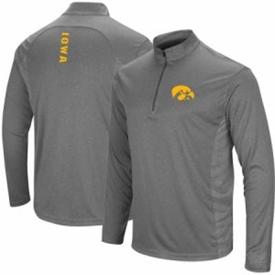 """メンズ ジャケット """"Iowa Hawkeyes"""" Colosseum Audible Windshirt Quarter-Zip Pullover Jacket - Heathered Black"""