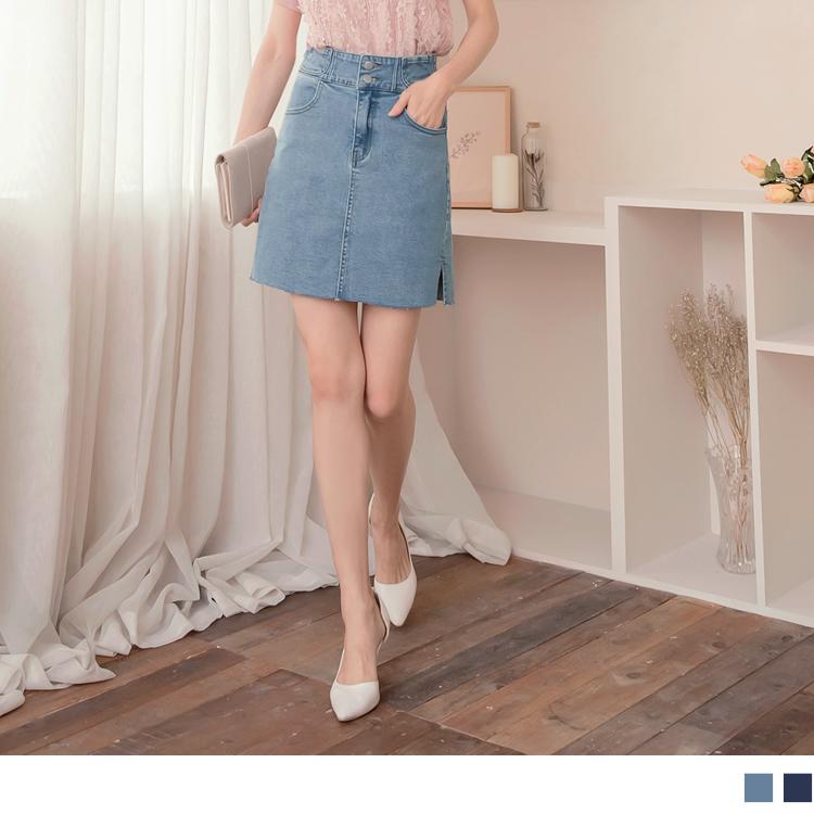 高含棉造型口袋側邊開衩A字彈力牛仔裙