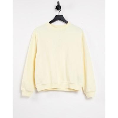 モンキ Monki レディース スウェット・トレーナー トップス Nana organic cotton sweatshirt in yellow イエロー