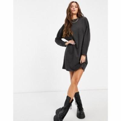 ブレイブソウル Brave Soul レディース ワンピース Tシャツワンピース ワンピース・ドレス Long Sleeve T-Shirt Dress チャコール