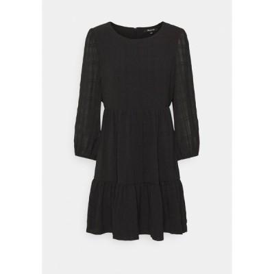 メイドウェル ワンピース レディース トップス EASY DRESS IN TEXTURED PLAID - Day dress - true black