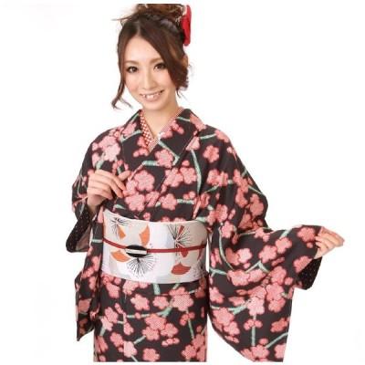 小紋 着物 正絹 仕立て上がり 黒地に梅柄 袷 レディース 女性 すぐに着れる着物