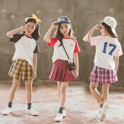キッズ 上下セット 子供服 夏 セットアップ 半袖 スポーツウェア ジャージ 女の子 ジュニア 半袖tシャツ プリーツスカート  チェック柄 テニスウェア 4色