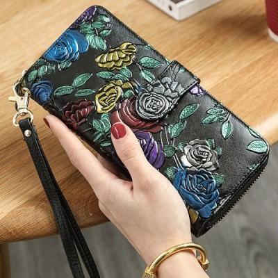 全5色かわいい 蝶々 フラウー長財布 牛革 レディース長財布 可愛い財布 婦人財布 ロングウォレット 可愛い かわいい