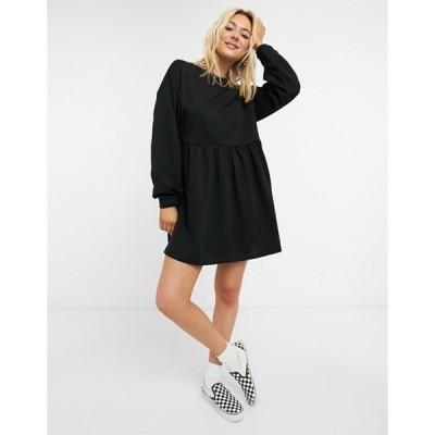 エイソス レディース ワンピース トップス ASOS DESIGN mini sweat smock dress in black
