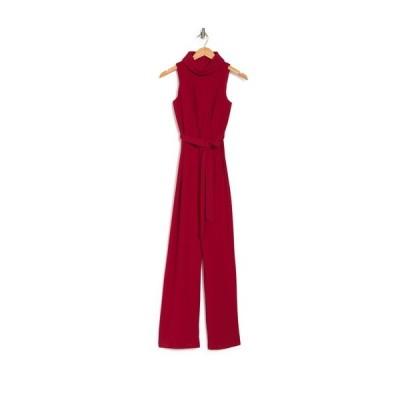 マリーナ レディース ワンピース トップス Cowl Neck Waist Tie Jumpsuit RED