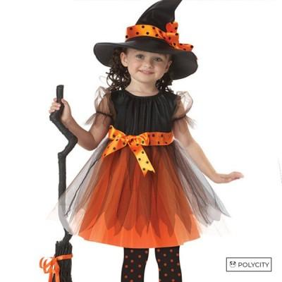 ハロウィン 子供 魔女 プリンセススカート 女の子セット 黄 お盆 マスカレード コスプレ カーラー選択可能