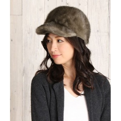 【サンキョウショウカイ】 ミンク ファー キャスケット 帽子 レディース グレー フリー sankyoshokai