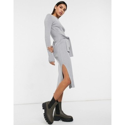 アンドアザーストーリーズ レディース ワンピース トップス & Other Stories tie waist knitted midi dress in gray melange Grey