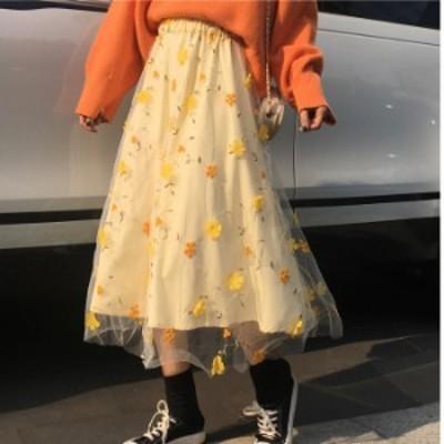 スカート フレアスカート レディース ロング メッシュ 刺繍  花柄 ハイウエスト ゴムウエスト 大人可愛い 春夏 お出かけ