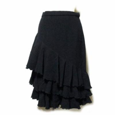 美品 renoma レノマ「38」アシンメトリープリーツスカート (黒 ボリューム) 123712 【中古】