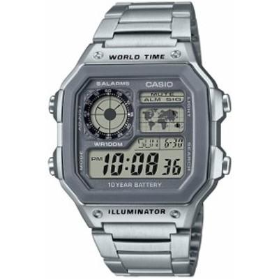 【当店1年保証】カシオCasio Men's 10 Year Battery Quartz Watch with Stainless Steel Strap, Silver,