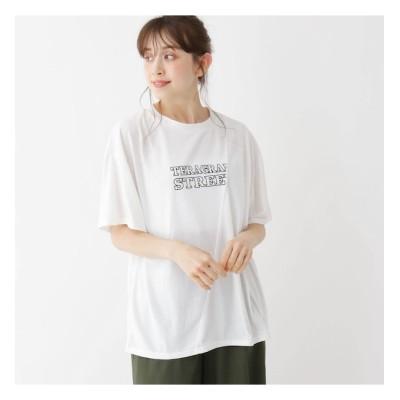 【シューラルー/SHOO・LA・RUE】 【M-L】ロゴプリントクルーネックTシャツ