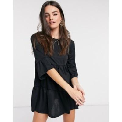 リバーアイランド レディース ワンピース トップス River Island tiered smock t-shirt dress in black Black