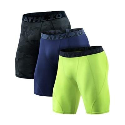 ATHLIO(アスリオ) スポーツウェア コンプレッション メンズ スポーツ ショーツ ショート タイツ 3枚 [UVカット・吸汗速乾] コ