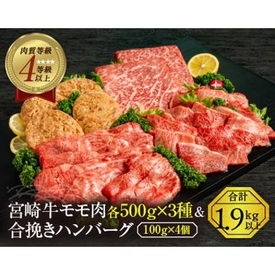 B121 宮崎牛モモ肉3種(各500g×3種)&合挽きハンバーグ(100g×4個)セット《合計1.9kg以上》