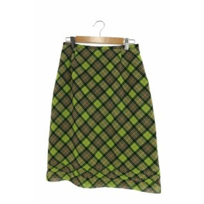 【中古】メルローズ MELROSE スカート タイト ミモレ チェック シフォン 3 緑 グリーン /RI47 レディース