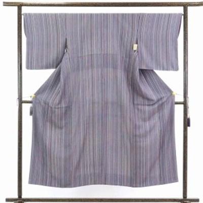 【中古】リサイクル着物 小紋 / 正絹紫地縦縞袷小紋着物 / レディース【裄Mサイズ】