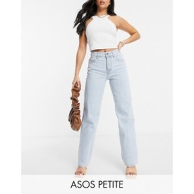 エイソス レディース デニムパンツ ボトムス ASOS DESIGN Petite mid rise 90s straight leg jeans in lightwash Lightwash