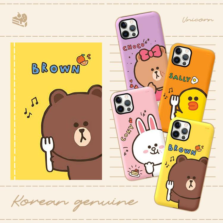 四款-韓國正版Line Freinds吃貨系列 iPhone保護殼 手機殼 熊大 兔兔 Unicorn