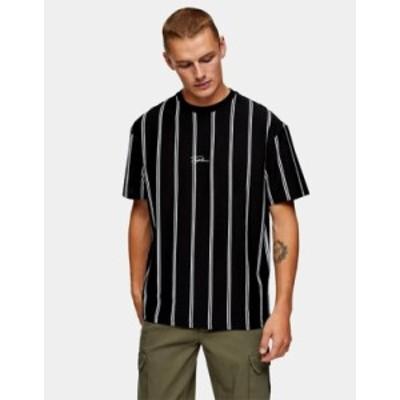 トップマン メンズ シャツ トップス Topman signature stripe t-shirt in black Black