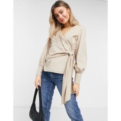 トップショップ レディース シャツ トップス Topshop wrap blouse in camel Beige
