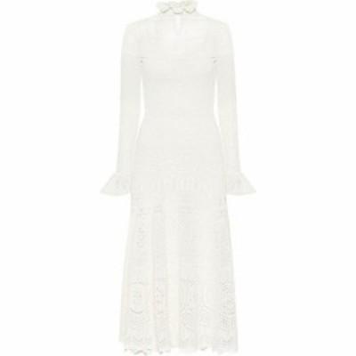 アレキサンダー マックイーン Alexander McQueen レディース ワンピース ミドル丈 ワンピース・ドレス Cotton-blend midi dress Ivory