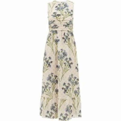 レッド ヴァレンティノ REDValentino レディース ワンピース ワンピース・ドレス Pleated cornflower-print silk-crepe dress Cream