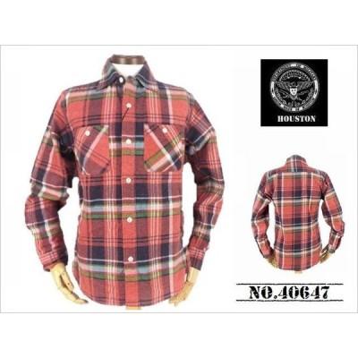 【送料無料 30%OFF 】HOUSTON  ヒューストン  プリントチェック フランネルWORKシャツ   NO.40647  RED(PINK)_Mサイズ